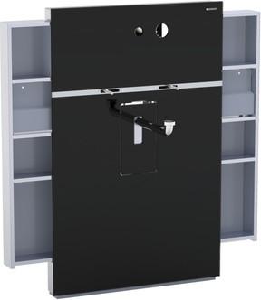 Инсталляция для подвесного умывальника и встроенного смесителя, выдвижной ящик слева и справа, чёрное стекло Geberit MONOLITH 131.042.SJ.1