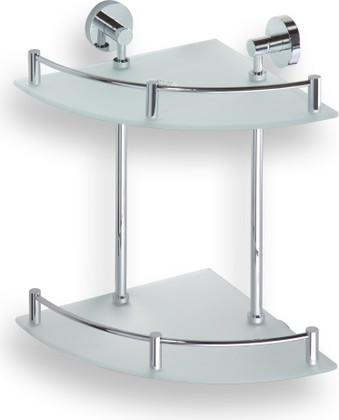Полка угловая двойная, матовое стекло/хром 270x270мм Bemeta 104202142