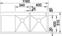 BLANCO ZEROX 8 S-IF/А Схема с размерами вид сверху