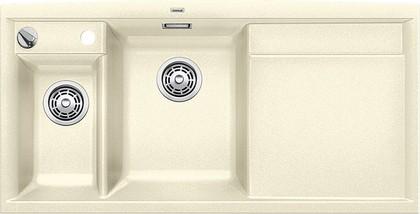 Кухонная мойка чаши слева, крыло справа, с клапаном-автоматом, с коландером, гранит, жасмин Blanco AXIA II 6 S 516833