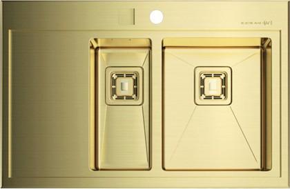 Кухонная мойка крыло слева, нержавеющая сталь золотая Omoikiri Akisame 78-2-IN-LG-R 4993016
