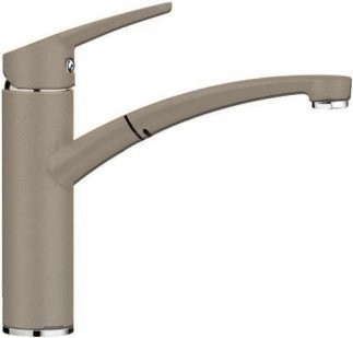 Компактный однорычажный смеситель с высоким выдвижным изливом для кухонной мойки, серый беж Blanco NEA-S 520304