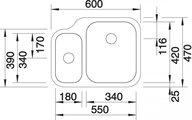 BLANCO YPSILON 550-U Схема с размерами: вид спереди