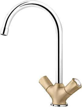 Классический кухонный вентильный смеситель с высоким изливом, хром / шампань Blanco AMONA 520774
