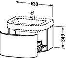 Тумбочка под умывальник подвесная, 349x630мм, белый глянец Duravit HAPPY D 627622
