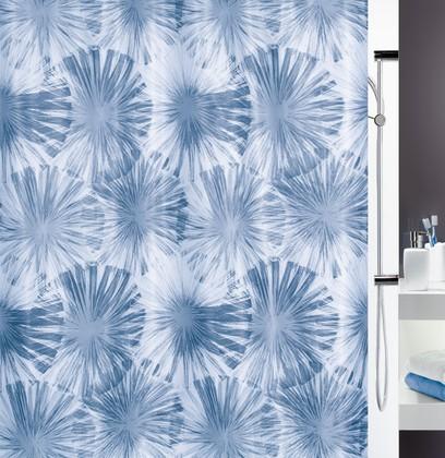 Штора для ванной комнаты 180x200см текстильная, голубая Spirella LIOLA 1017920