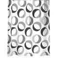 Штора для ванны 180x200см текстиль, серо-чёрная Spirella RINGS 1015184