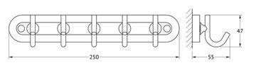Планка с пятью крючками, хром Ellux ELE 002