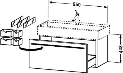 Тумбочка подвесная под умывальник, 448x950мм, венге Duravit X-LARGE XL 6046 28
