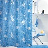 Штора для ванны 180x200см текстильная голубая Spirella PAROS 1043807