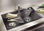 Кухонная мойка чаша справа, крыло слева, с клапаном-автоматом, гранит, антрацит Blanco ZENAR 45 S-F 519291