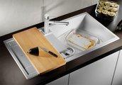 Кухонная мойка оборачиваемая с крылом, с клапаном-автоматом, гранит, белый Blanco METRA XL 6 S 515280