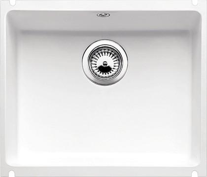 Кухонная мойка без крыла, с клапаном-автоматом, керамика, белый глянцевый Blanco SUBLINE 500-U PuraPlus 514513