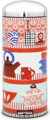 Высокий мусорный бак 30л с педалью, MotionControl, рисунок Kitchen Collage Brabantia RETRO BIN 482120