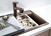 Кухонная мойка основная чаша слева, без крыла, с клапаном-автоматом, гранит, тёмная скала Blanco AXIA II 8 518835