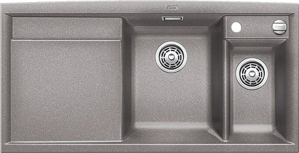 Кухонная мойка чаши справа, крыло слева, с клапаном-автоматом, с коландером, гранит, алюметаллик Blanco AXIA II 6 S-F 516876