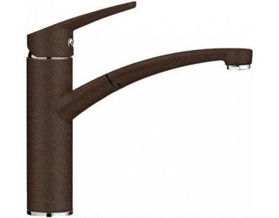 Компактный однорычажный смеситель с высоким выдвижным изливом для кухонной мойки, кофе Blanco NEA-S 520305