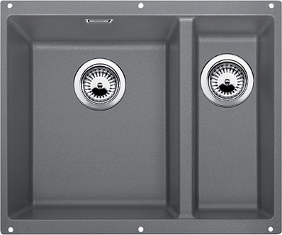 Кухонная мойка без крыла, основная чаша слева, с клапаном-автоматом, гранит, алюметаллик Blanco SUBLINE 340/160-U 513789