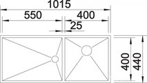 BLANCO ZEROX 400/550-T-U Схема с размерами вид сверху