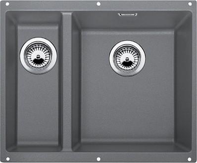 Кухонная мойка без крыла, основная чаша справа, с клапаном-автоматом, гранит, алюметаллик Blanco SUBLINE 340/160-U 520404
