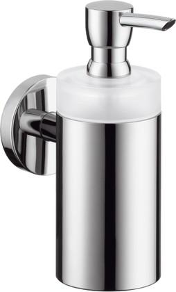 Дозатор для жидкого мыла хрустальный с хромированным настенным держателем Hansgrohe Logis 40514000