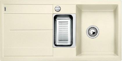 Кухонная мойка оборачиваемая с крылом, с клапаном-автоматом, коландером, гранит, жасмин Blanco METRA 6 S-F 519116