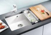 Кухонная мойка без крыла, керамика, белый глянцевый Blanco SUBLINE 500-U PuraPlus 514506