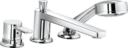 Смеситель однорычажный с ручным душем встраиваемый на 3 отверстия на бортик ванны, хром Kludi ZENTA 384470575