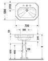 Серия 1930 Умывальник Duravit с 3-мя отверстиями под смеситель, артикул 438700030