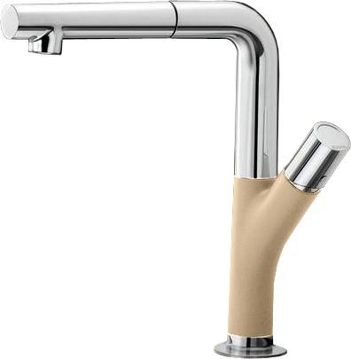Смеситель кухонный однорычажный с выдвижным изливом, шампань / хром Blanco YOVIS-S 518297