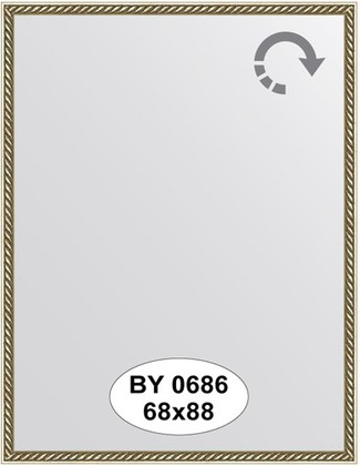Зеркало 68x88см в багетной раме витая латунь Evoform BY 0686