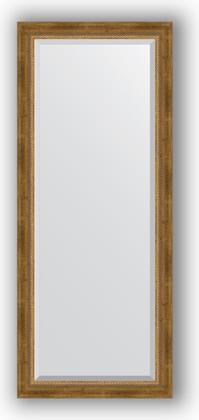 Зеркало с фацетом в багетной раме 63x153см состаренное бронза с плетением 70мм Evoform BY 3562