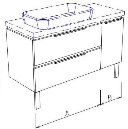 Тумба напольная, 2 ящика и дверь справа, без столешницы и раковины 95х50х50см Verona Ampio AM204.A070.B025.000