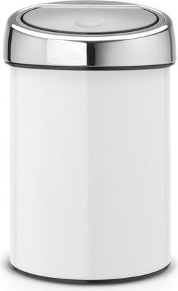 Ведро для мусора 3л, белое Brabantia TOUCH BIN 364488
