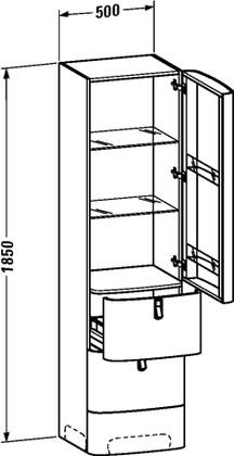 Высокий однодверный шкаф с 2 ящиками, петли справа, дуб Duravit ESPLANADE ES9055R0505