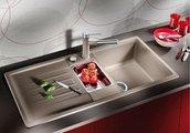 Кухонная мойка оборачиваемая с крылом, с клапаном-автоматом, коландером, гранит, алюметаллик Blanco LEXA 6 S 514669