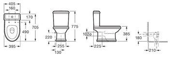 Унитаз напольный, комплект (чаша, бачок, сиденье с микролифтом) Roca AMERICA 342497