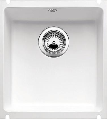 Кухонная мойка без крыла, с клапаном-автоматом, керамика, белый глянцевый Blanco SUBLINE 375-U PuraPlus 516042