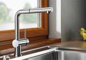 Кухонный смеситель для установки перед окном однорычажный с выдвижным высоким изливом, нержавеющая сталь Blanco LINUS-S-F 514024