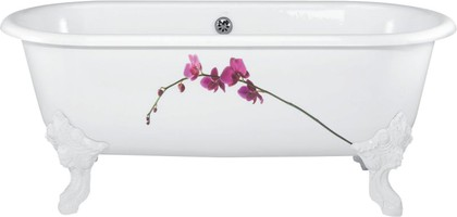 Овальная чугунная ванна с декором 175x80см, Antislip Jacob Delafon CLEO E2942-00