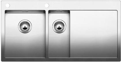 Кухонная мойка чаши слева, крыло справа, с клапаном-автоматом, нержавеющая сталь зеркальной полировки Blanco CLARON 6 S-IF/А 514002