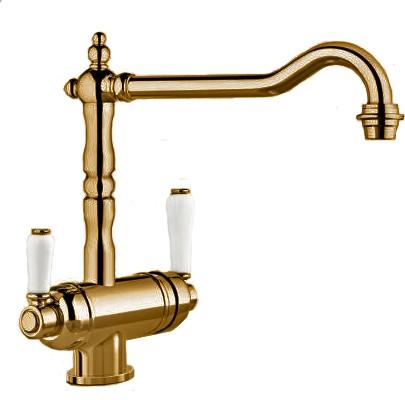Смеситель кухонный традиционный однорычажный с одним изливом для питьевой и обычной воды, полированная латунь Blanco SORA 520835