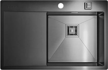 Кухонная мойка с левым крылом, нержавеющая вороненая сталь Omoikiri Akisame 78-GM-R 4993100