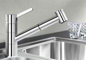 Смеситель однорычажный с высоким выдвижным изливом для кухонной мойки, хром Blanco TIVO-S 517648