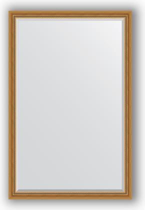Зеркало с фацетом в багетной раме 113x173см состаренное золото с плетением 70мм Evoform BY 3613