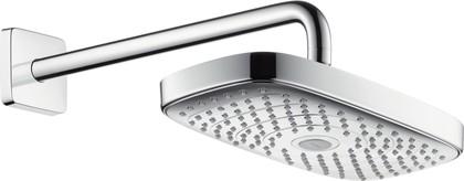 Верхний душ с держателем 390мм, хром / белый Hansgrohe Raindance Select E 300 27385400
