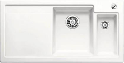 Кухонная мойка чаши справа, крыло слева, с клапаном-автоматом, с коландером, керамика, белый матовый Blanco AXON II 6 S PuraPlus 516542