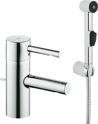 Смеситель однорычажный с донным клапаном для раковины с гигиеническим душем, хром Grohe ESSENCE Hygienica 32535000