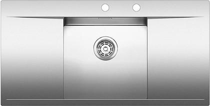 Кухонная мойка крыло слева и справа, с клапаном-автоматом, нержавеющая сталь зеркальной полировки Blanco FLOW 5 S-IF 515817