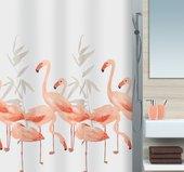 Штора для ванны 180x200см текстильная оранжево-розовая Spirella FLAMINGO 1016355